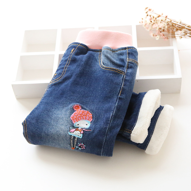 New Fashion Girls Autumn Winter Thicken Jeans Baby Embroidery Wam Denim Jeans Kids Elastic Waist Winter Trousers Warm Pants