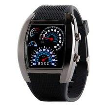 Erkek Saatler Havacılık Turbo Arama Flaş LED Hediye Spor Araba Metre Adam elektronik saat erkek kol saati dijital relogios digitais
