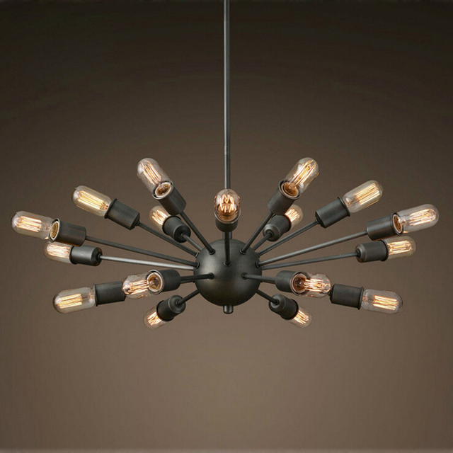 Black Wrought Iron Chandelier Lighting Vintage Metal Large Antique With 18 Lights Painted