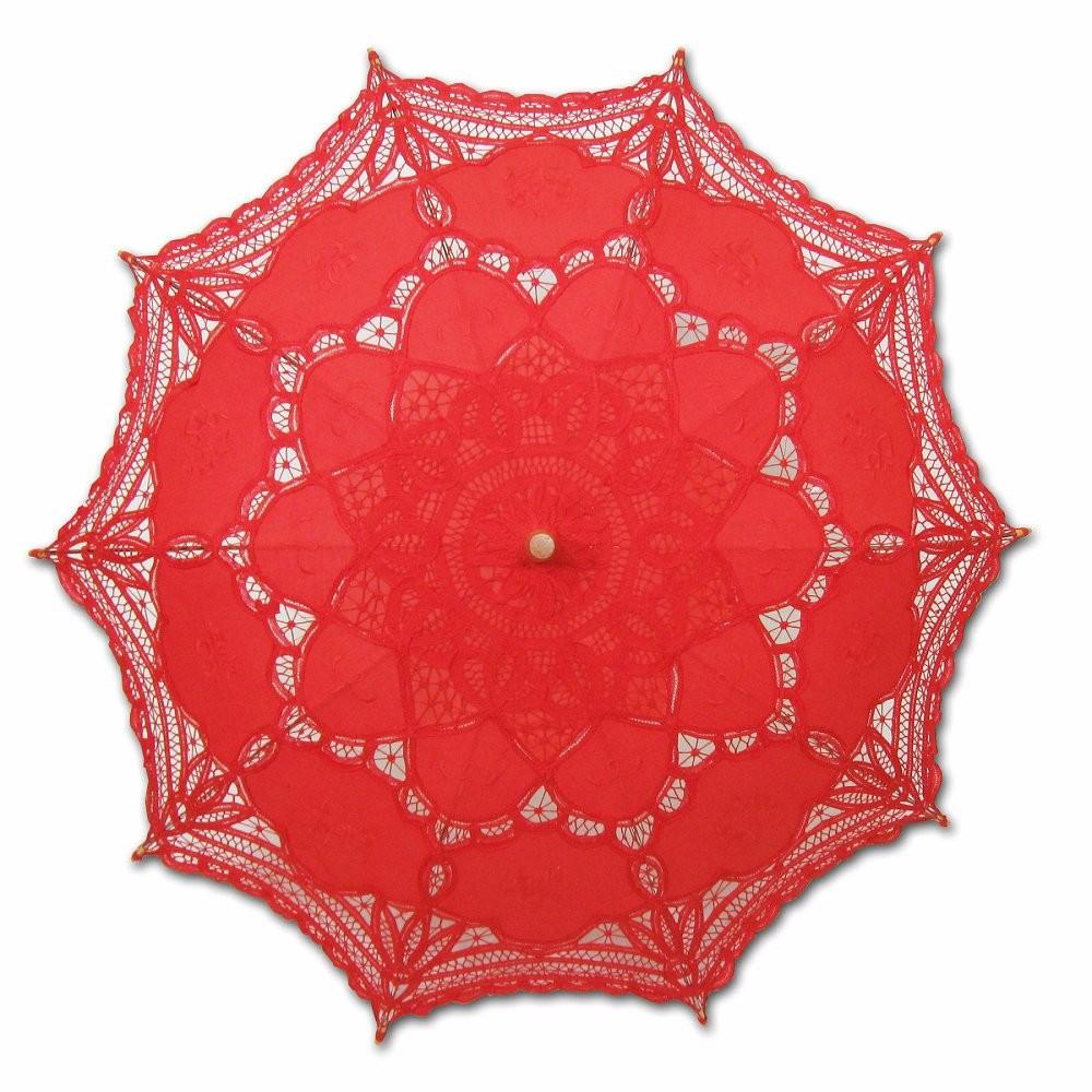New Lace Umbrella Cotton Embroidery White/Ivory Battenburg Lace Parasol Umbrella Wedding Umbrella Decorations Free Shipping 20