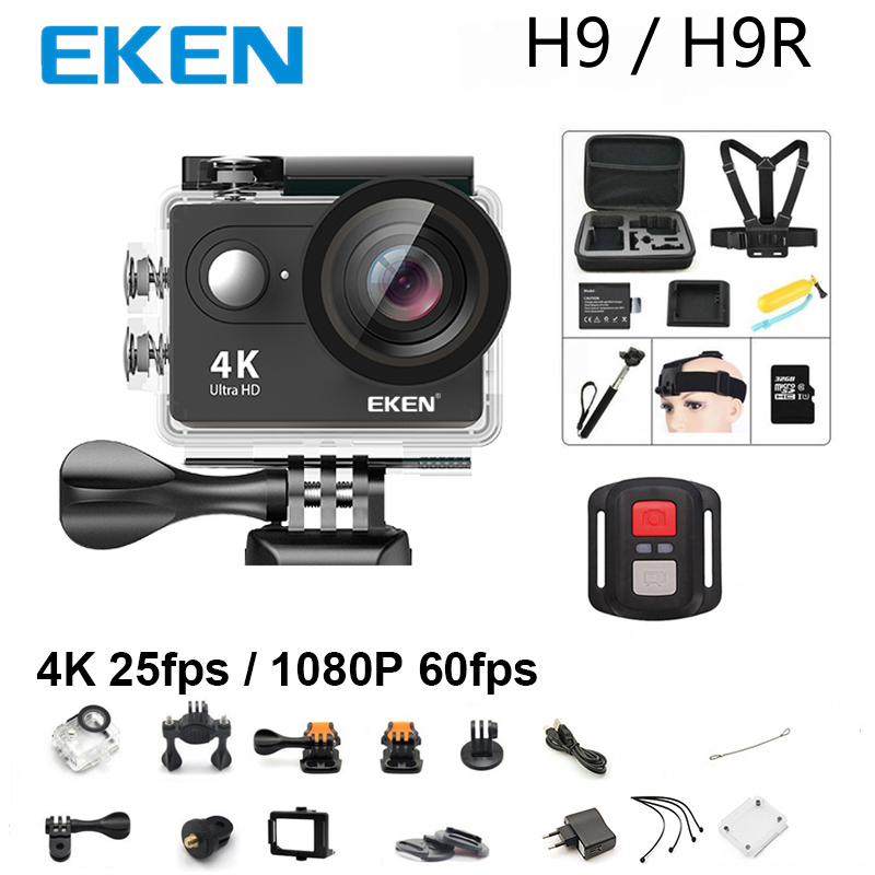 Neue 100% Original EKEN H9/H9R action kamera 4 karat wifi Ultra HD 1080 p 60fps 170D 30 mt wasserdichte mini sport kamera 2,0
