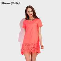New Summer Womens Cute Hem Burning Flower Hollow Out Elegant Dresses 2017 Short Sleeve Casual Solid