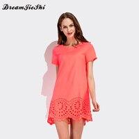 New Summer Womens Cute Hem Burning Flower Hollow Out Elegant Dresses 2017 Short Sleeve Casual Solid