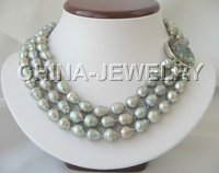 Beautiful 3row 13mm Gray Baroque FW Pearl Necklace Abalone Shell Clasp