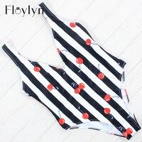 Floylyn 2018 Women Swimsuit One Pieces Swimwear Female Stripe Bikini Push Up Jumpsuit Vest Bathing Suit