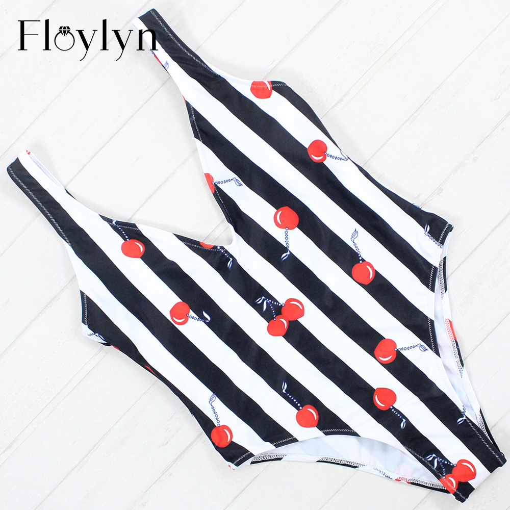 Floylyn 2018 Women Swimsuit One Pieces Swimwear Female Stripe Bikini Push Up Jumpsuit Vest Bathing Suit Beach Piece Summer female summer beach bikini women swimwear one piece swimsuit bathing suit stripe swimming pool bodysuits woman tank suit maillot