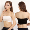 One Size 4 Colors Sexy Women Solid Bandeau Thin Safety Bra Tube Anti emptied Tank Top Strapless Stretch