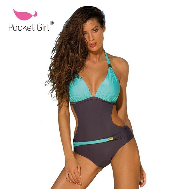 b8848e61d303f Pocket Girl 2018 High Neck One Piece Swimsuit Women Cut Out Monokini Deep V  Swimwear Black Trikini Beach Push Up Bathing Suit