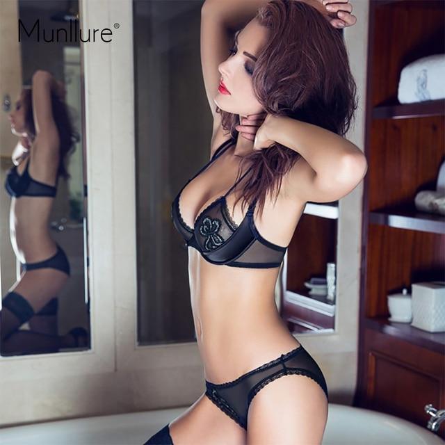 Нижнее белье установить тонкий женский сексуальный недоуздок-образным вырезом бюстгальтера ультра-тонкий бюстгальтер кружева прозрачный