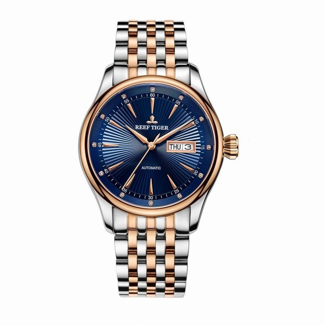 Reef Tiger Classic Serier RGA8232 Men Fashion Business Ultra Thin Waterproof Automatic Mechanical Wrist Watch - Steel 機械 式 腕時計 スケルトン