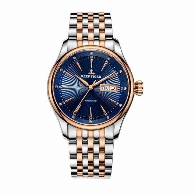 Reef Tiger Classic Serier RGA8232 Men Fashion Business Ultra Thin Waterproof Automatic Mechanical Wrist Watch - Steel цена и фото