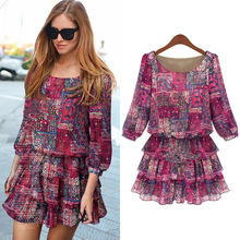 2018 Hot Sale New Fasion Flower Print A Line Summer Dress Middle Sleeve Spring Multicolor Floral Calico one-piece Plus Size 5XL