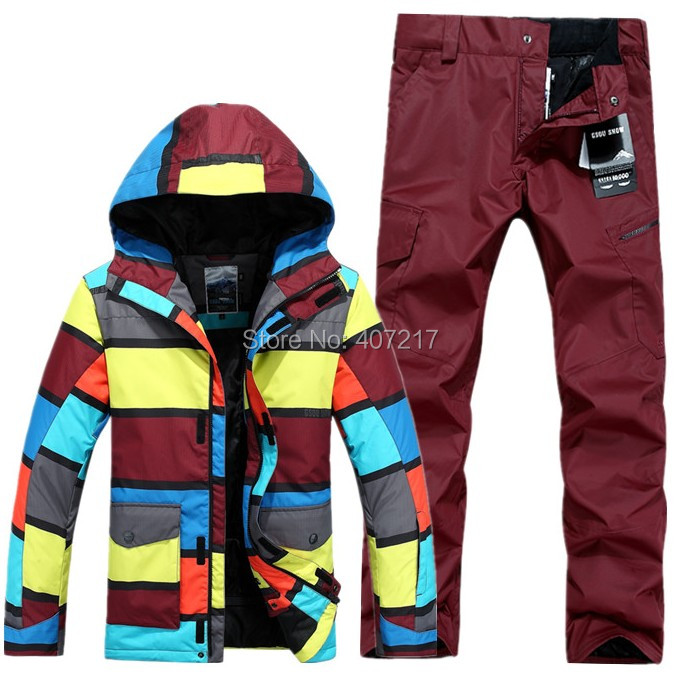 2015 mens skiing suit snowboard suit male ski suit set stripe jacket and burgundy pants skiwear waterproof 10K breathable warm