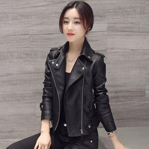 Women Motocycle Autumn Leather Jacket Black Turn-down Collar Female Pu Outwear Coat 2019 Classical Slim