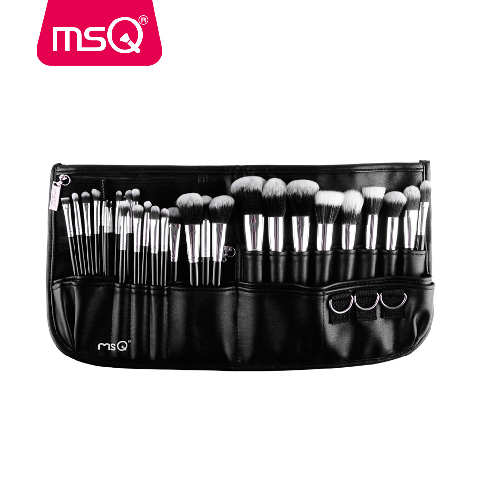 Güzellik ve Sağlık'ten Göz Farı Aplikatörü'de MSQ Profesyonel 29 adet makyaj fırçası Seti Yüksek Kaliteli Sentetik Saç Vakfı Pudra Allık Eyeliner Kozmetik Siyah bel çantası'da  Grup 1