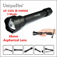 Night Vision LED Flashlight UniqueFire Lamp Torch 1501 940 nm IR Led Torch For 2x18650 Rechargeable Battery For Night Hunting