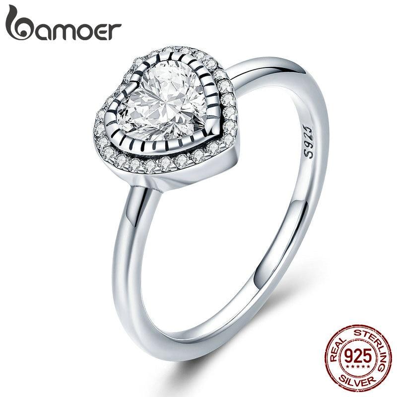 BAMOER 100% 925 Sterling Silver Romantic Heart Love Luminous CZ Crystal Finger Ring for Women Wedding Engagement Jewelry SCR423