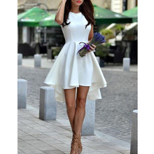 Sexy White Dress Round Neck Sleeveless Asymmetrical Hem Flare Party Dress contrast binding asymmetrical hem knit tee