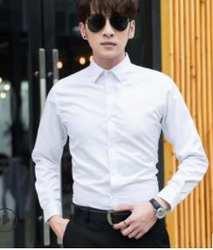Осенняя белая рубашка мужская деловая однотонная Повседневная рубашка с длинными рукавами тонкая Корейская версия мужского стиля TX127