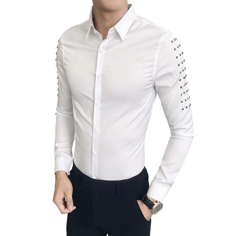 Hot Sale Korean Tuxedo Brand Designer Slim Fit Shirt Men Casual Rivets Long Sleeve All Match Streetwear Prom Dress Shirts Mens Rich In Poetic And Pictorial Splendor
