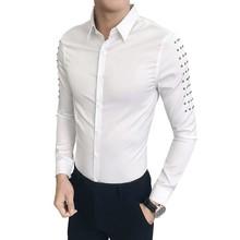 Hot Sale Korean Tuxedo Brand Designer Slim Fit Shirt Men Casual Rivets Long Sleeve All Match