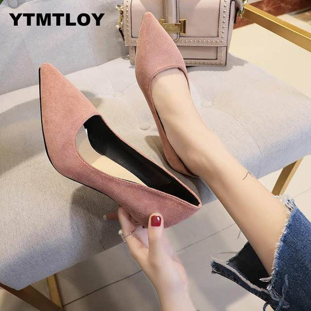 2019 HOT Women Shoes Pointed Toe Pumps Patent Leather Dress  High Heels Boat Shoes Wedding Shoes Zapatos Mujer Blue White 15