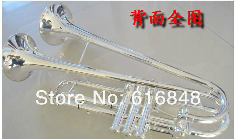 2018 New Arrivel High Quality Double Horn Bb Trumpet Brass Tube Double Silver Plated B Flat Musical Instruments Trompete silver plated double french horn f bb 4 key brand new with case
