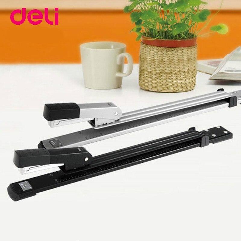 DELI 0334 Long Arm Stapler Rotatable Book Slit Long Binding Extended Metal Stapler Bookbinding Stapling School Office Supplies цена