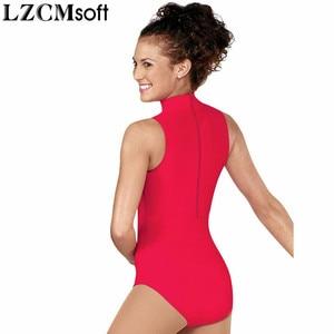 Image 5 - LZCMsoft 여성 스판덱스 블랙 민소매 댄스 레오타드 성인 나일론 하이 넥 체조 성능 레오타드 스테이지 바디 수트