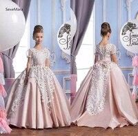 Винтаж розовый бальное платье кружевное платье с цветочным рисунком платья для девочек, Q002 свадьбы короткий рукав Платье для маленькой дев
