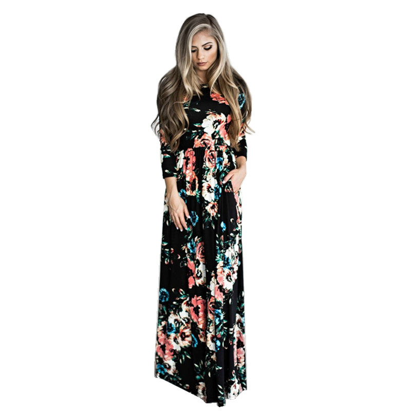 Seartist 2019 New Mom and Daughter Dress Mother and Girl Dresses Kids Summer Long Sleeved Floral Beach Bohemian Party Dress C38 in Matching Family Outfits from Mother Kids
