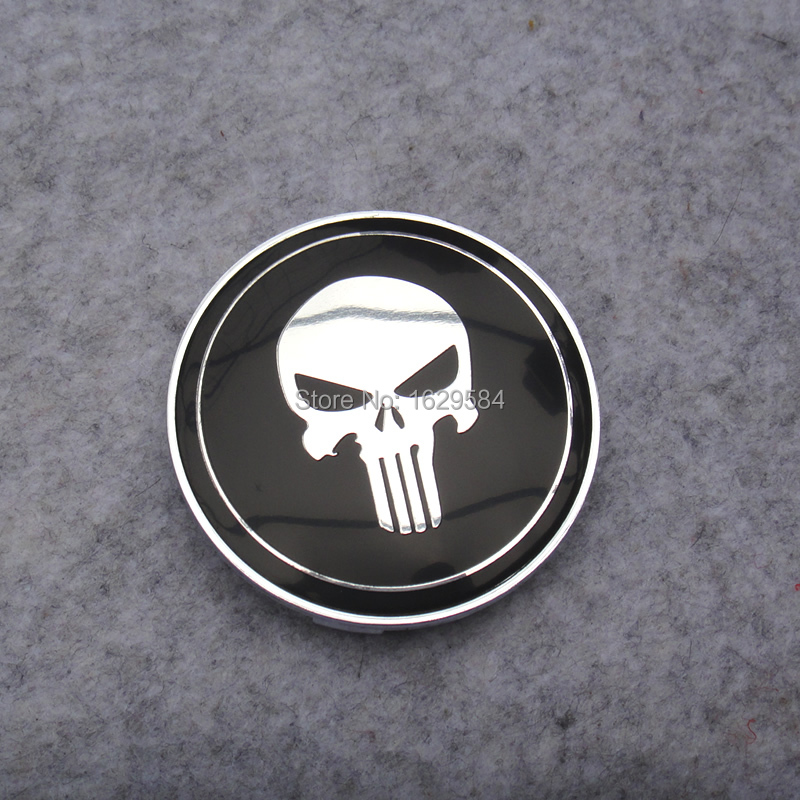 4PCS 68mm Black Skull Punisher Car Wheel Centre Center <font><b>Hubs</b></font> <font><b>Caps</b></font> Emblem Fit For <font><b>Bmw</b></font> image