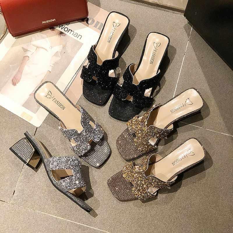 2020 ฤดูร้อนใหม่ผู้หญิงรองเท้าแตะรองเท้าส้นสูงเต็มรูปแบบของ Bling Elegant รองเท้าผู้หญิงเซ็กซี่สุภาพสตรี PARTY Club ชุดอาหารค่ำ flip Flops
