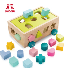 Bloco Do Brinquedo de madeira Crianças Empurrando PHOOHI Forma Jogo Puzzle Brinquedo Brinquedo Educativo Para O Bebê Do Carro