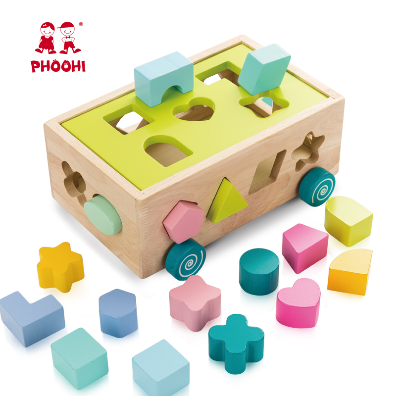 Wooden Block Toy Kids Pushing Shape Match Puzzle Car Toy Educational Toy For Baby PHOOHI