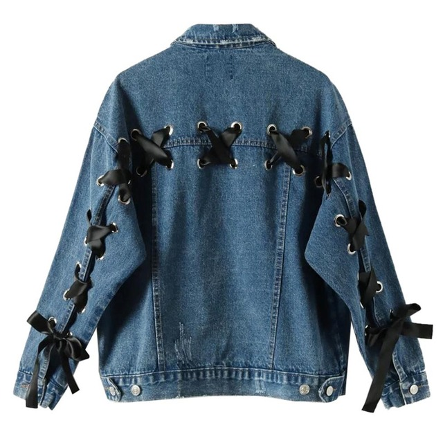 92588d1bd Lace up Denim Jacket For Women Spring Winter Long Sleeve Chic Coat Causal  Loose Cowboy Polo