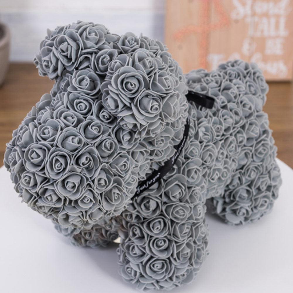 Искусственные цветы розы Медведь собака кролик Мопс юбилей день Святого Валентина подарок на день рождения мать подарок Свадебная вечеринка украшение - Цвет: 40CM grey Dog