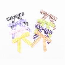 800pcs Free shipping Gingham Checkered Tartan  Pretied Bows Ribbon Bows  Christmas and Winter – Holiday Crafts