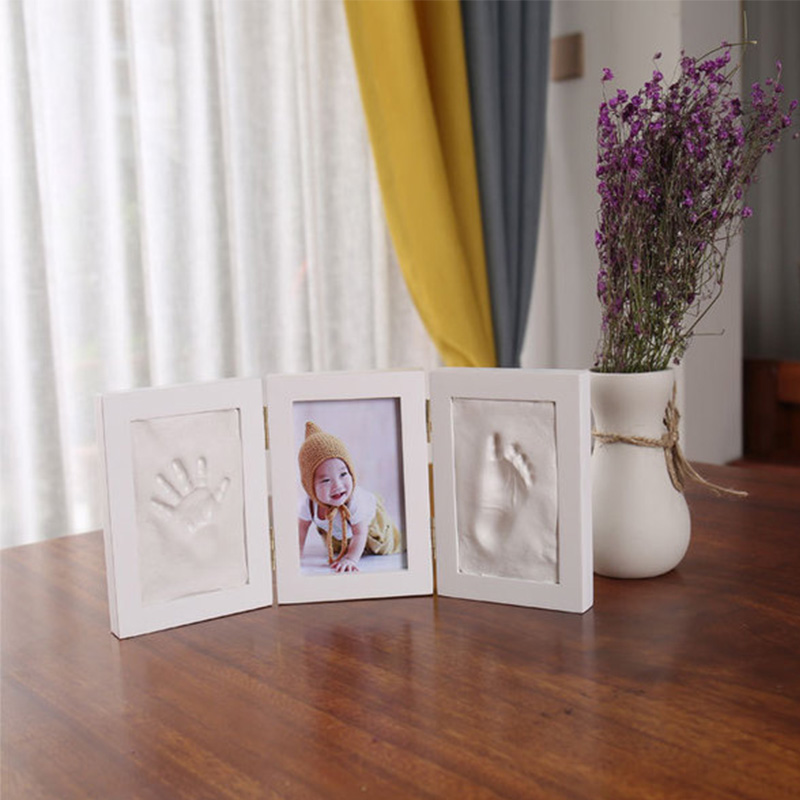 Newborns Molds Baby Handprint Footprint Photo Frame For Baby Care Babies Souvenir Casting Newborn Footprint Soft Clay Inkpad