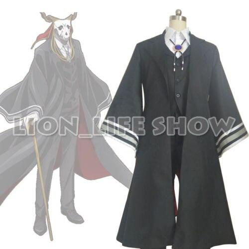 L'ancienne mariée de magus Ainsworth Elias manteau de Costume noir + gilet + pantalon + blouse + gants + foulard + cou nœud Costume Cosplay tenue