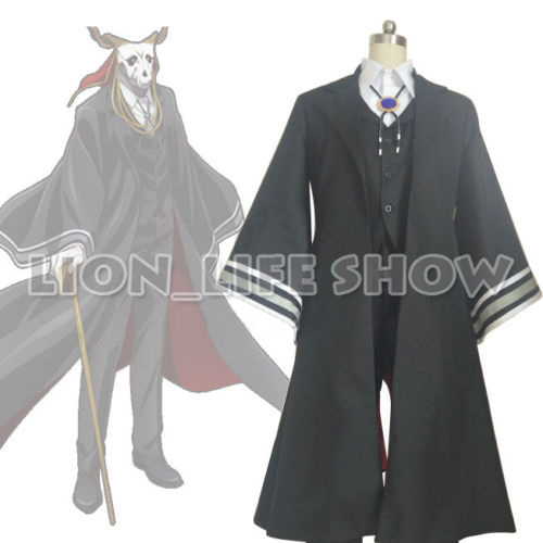 The Ancient Magus' Bride Ainsworth Elias Black Suit coat+vest+pants+blouse+gloves+head scarf+neck bow Cosplay Costume Outfit