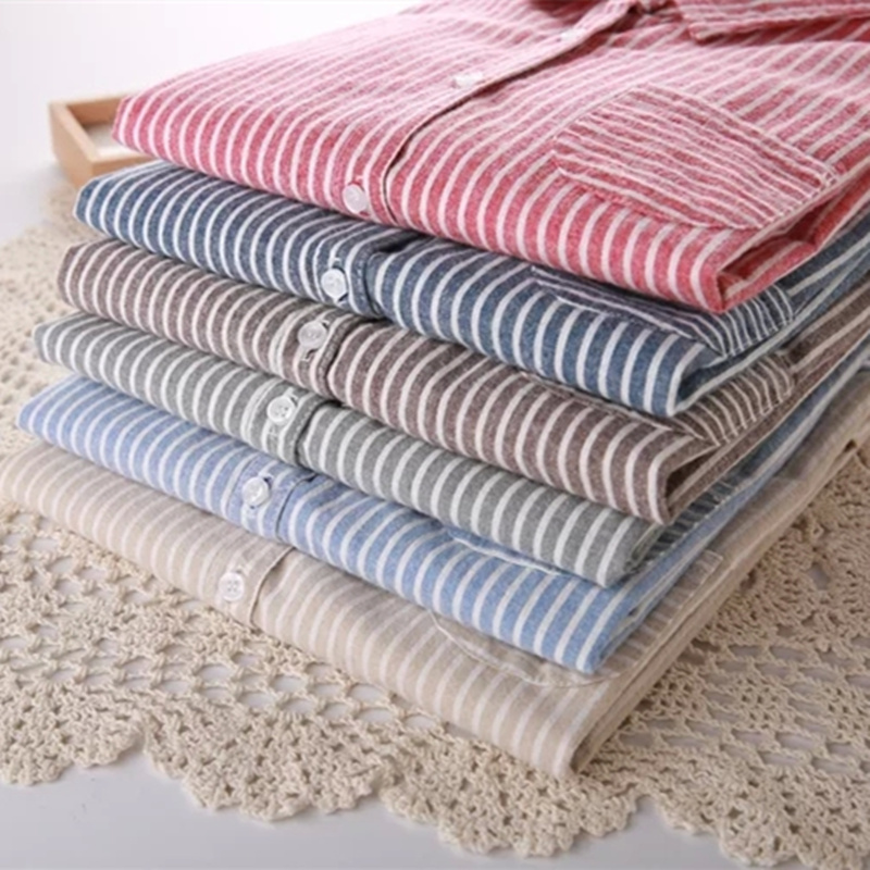 6 color 2020 Women Shirts tops fashion stripe Female Student 100% cotton Women's Long sleeve  Shirt Basic Blouses shirts