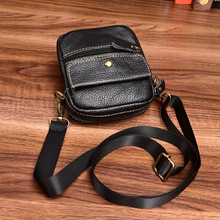 HUANILAI Men Genuine Leather Bags Crossbody Small Shoulder Waist Pack Phone  DD01