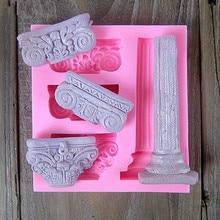 3D Roman Column Pillar Silicone Cake Molds Fondant Christmas Border Chocolate Confeitaria Cupcake Kitchen Accessories