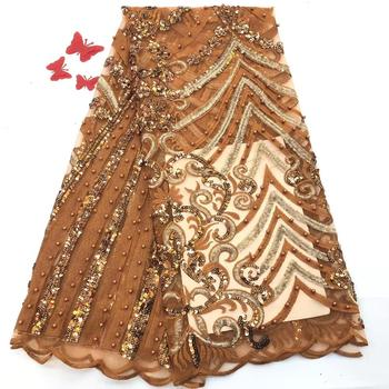 Newest African Lace Fabric With Sequins and Beads High Quality Nigeria Mesh Tulle Lace Fabric For Party Dress
