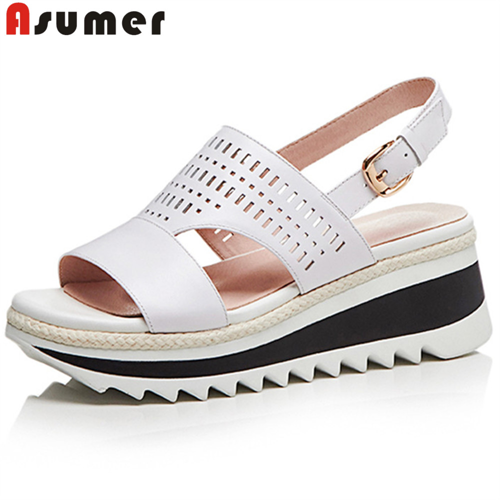 ASUMER white pink fashion summer new shoes woman platform wedges shoes casual comfortable sandals women genuine leather shoes women creepers shoes 2015 summer breathable white gauze hollow platform shoes women fashion sandals x525 50