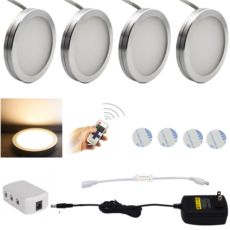 3/4/6 PCS LED Under Cabinet Light 12 LEDs Remote Control Dimmable Kitchen Lights Closet  ...