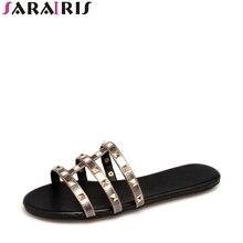SARAIRIS Nyári Plusz Méret 34-43 Punk Rivet Papucsok Kényelem Tömör Diák Soft Flat Sole Női Cipők