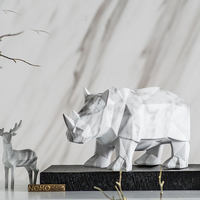 Home Decoration Accessories Nordi Rhino Statue Marble Sculpture Figurine Miniture Home Decor Resin Crafts Dog Kid Chirsmas Gift
