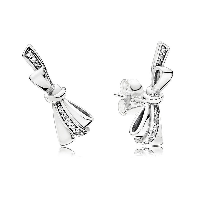 Authentic 925 Sterling Silver Earring Brilliant Bow With Crystal Studs Earring For Women Wedding Party Gift Fine Pandora Jewelry